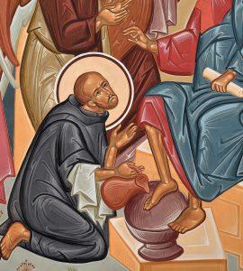 Icono San Juan de Dios lavando los pies a Jesucristo.