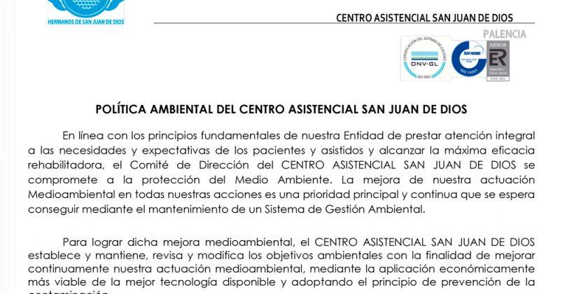 Aprobada La Revisión de la Política Ambiental del Centro Asistencial San Juan de Dios
