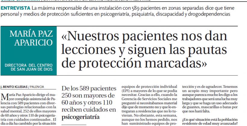 """Entrevista Diario Palentino""""Nuestros pacientes nos dan lecciones a diario"""""""
